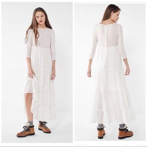 Urban Outfitters White Josie tiered Maxi Dress